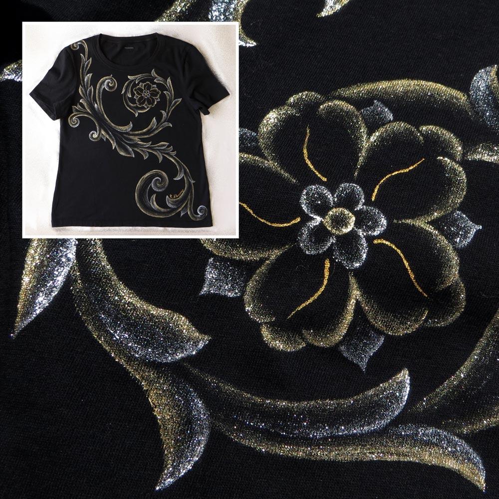 maglietta-nera-barocco-oro-argento