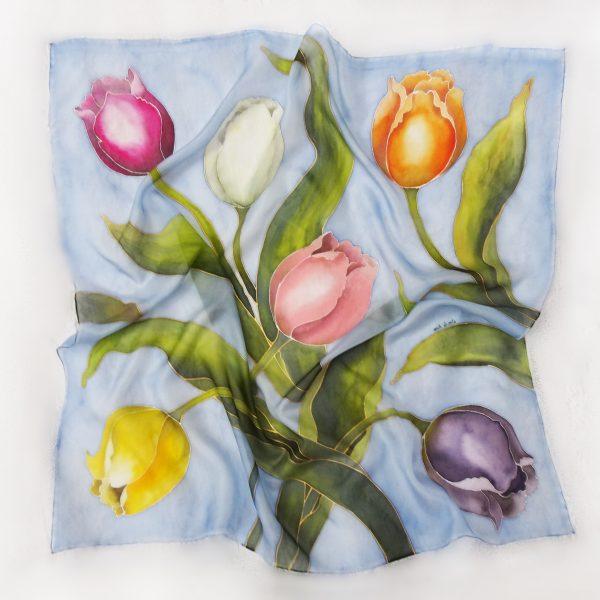 Sciarpa quadrata con tulipani personalizzabile