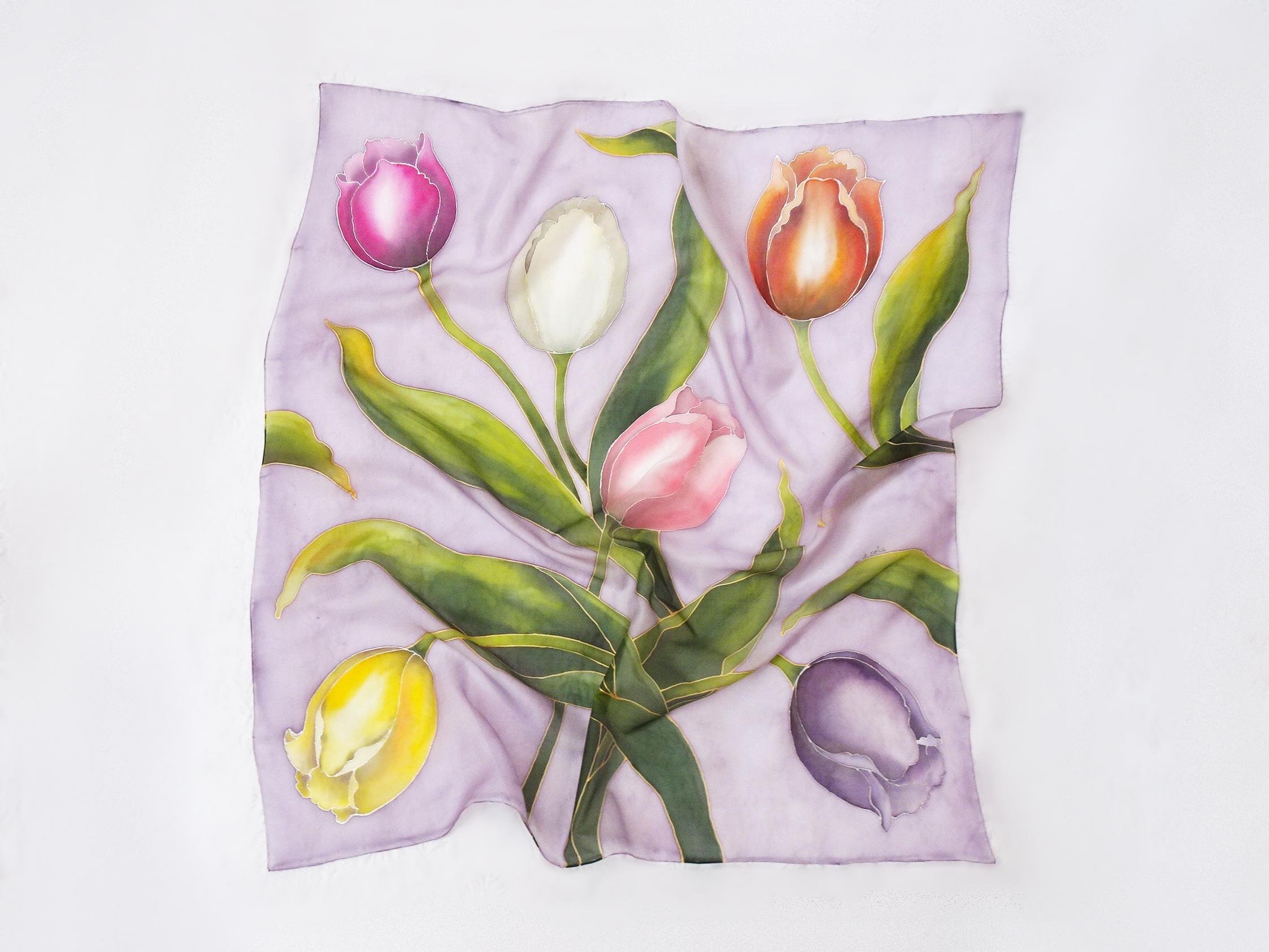 Foulard tulipani fondo lillaù