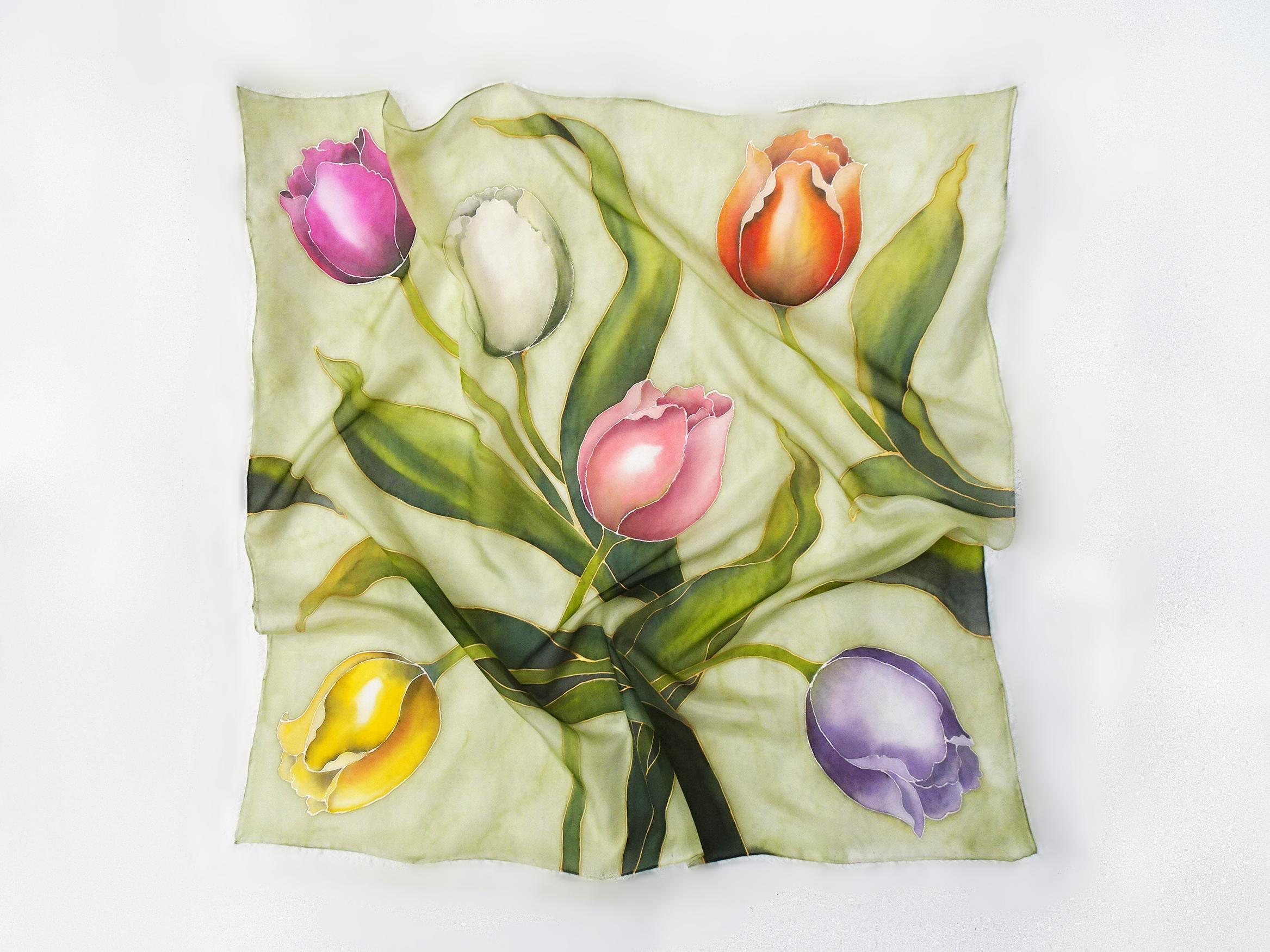 Foulard tulipani fondo verde